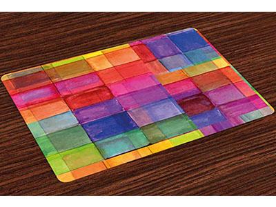 Ambesonne Island Rainbow Silicone Placemat